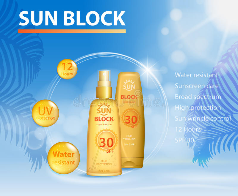Sunblock UV protection ads template, sun care protection cosmetic products design face and body cream and oil on palm. Sunblock ads template, sun care protection royalty free illustration