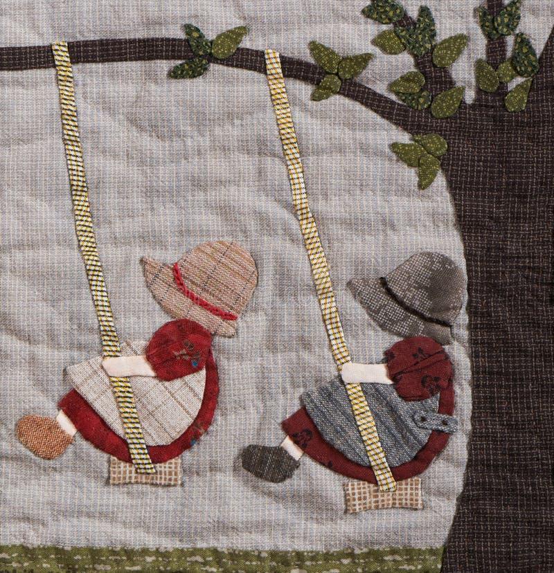 Sunbonnet судит деталь лоскутного одеяла applique стоковые фотографии rf