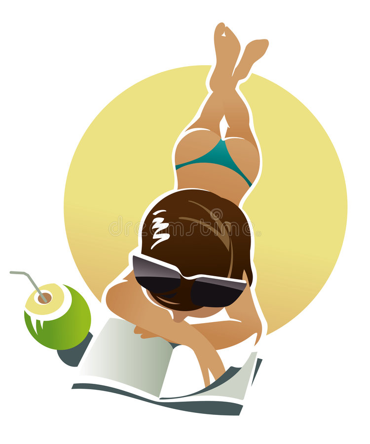 Download Sunburn girl on a beach stock vector. Image of magazine - 5805927