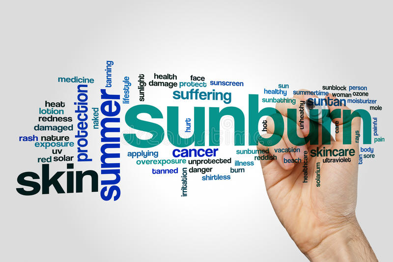 Sunburn word cloud. Concept on grey background stock photo