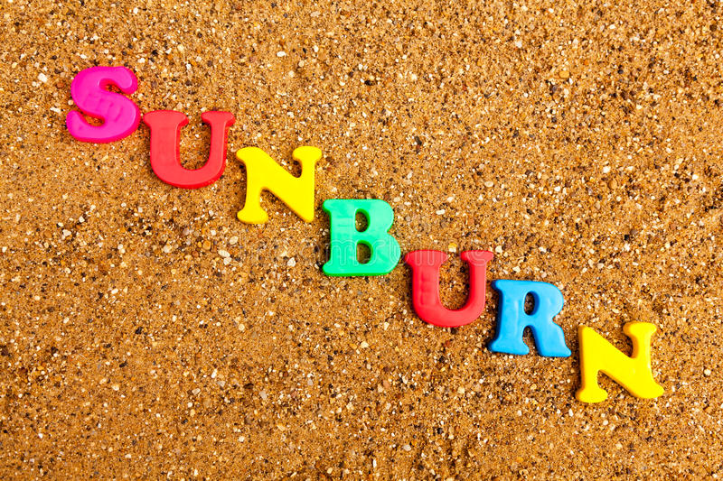 Sunburn. The word sunburn written in alphabet letters on a sand background stock images