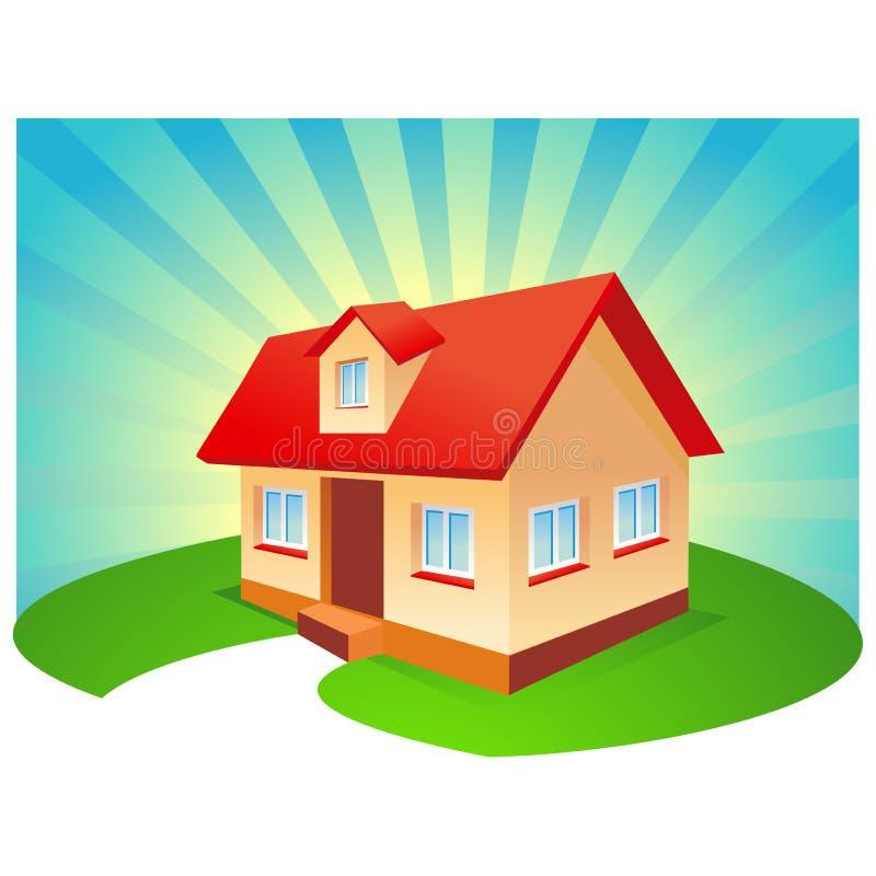 sunburst дома предпосылки голубой иллюстрация вектора