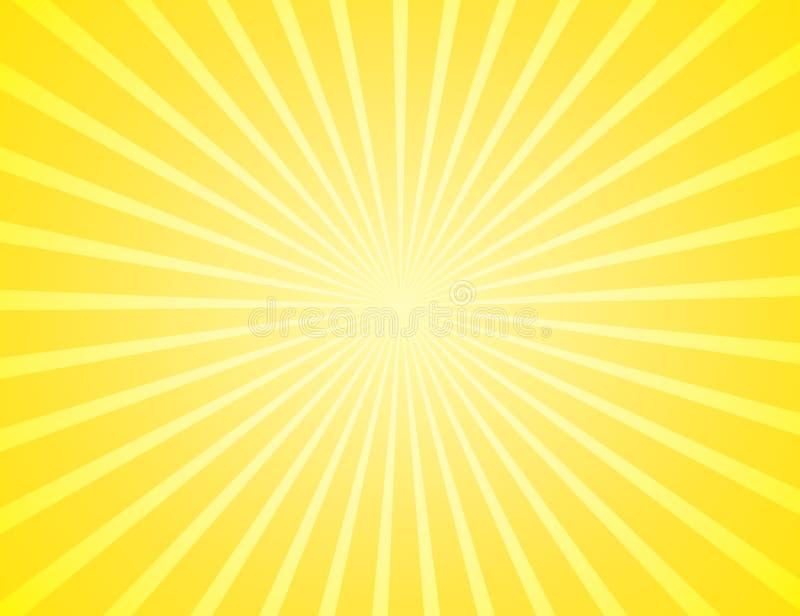 Sunburst желтая картина лучей Радиальная sunburst иллюстрация вектора предпосылки луча Солнце бесплатная иллюстрация