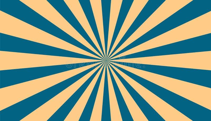 Sunburst - Abstrakcjonistyczny Błękitny I Beżowy tło - Wektorowa ilustracja ilustracji