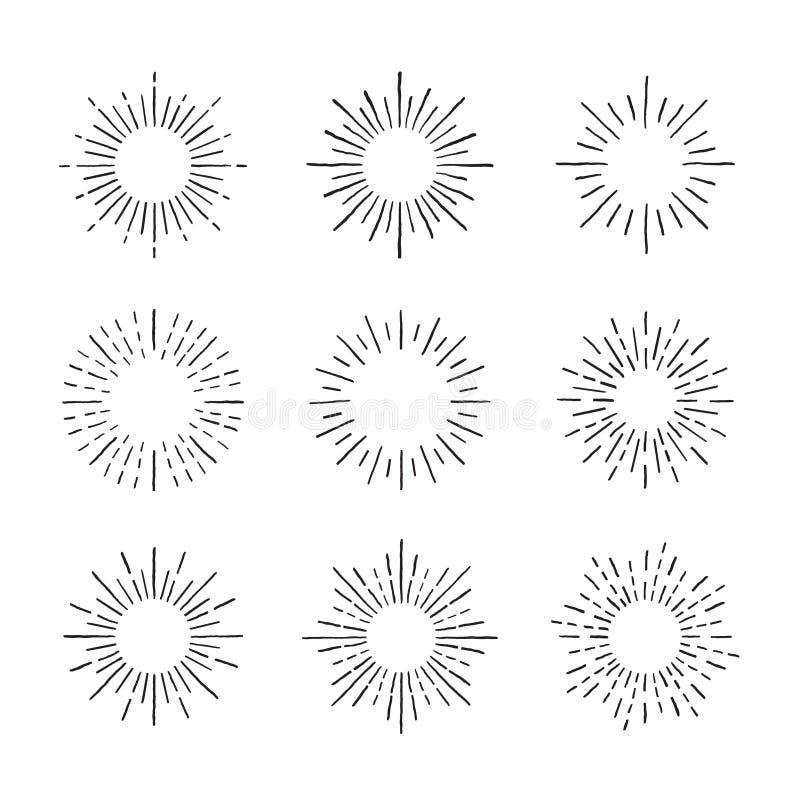Sunburst atramentu wektoru ręka rysujący set Część cztery ilustracji