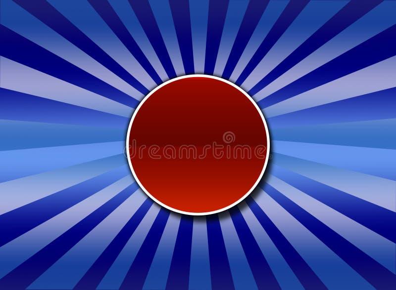 Sunburst azul com tecla center ilustração stock