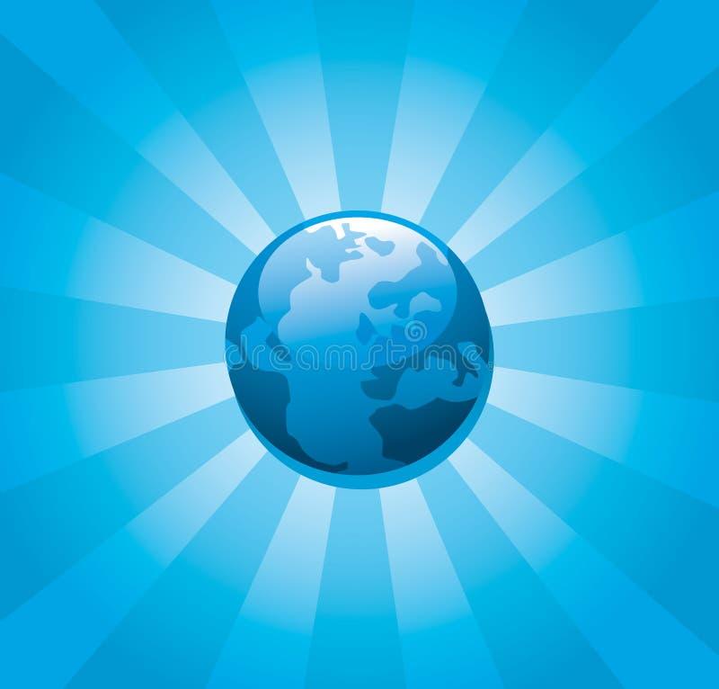 Sunburst azul da terra do planeta ilustração stock