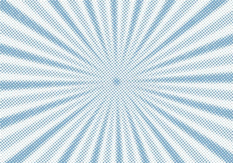 Sunburst azul retro e fundo de intervalo mínimo do estilo dos desenhos animados cômicos dos raios Grunge abstrato do vintage com  ilustração stock