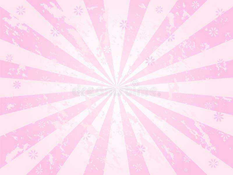 Sunburst cor-de-rosa do grunge ilustração royalty free