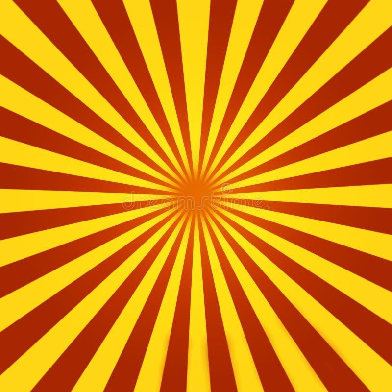 sunburst czerwony kolor żółty royalty ilustracja