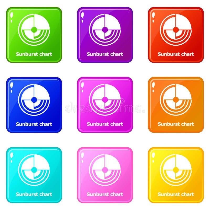 Sunburst diagramsymboler ställde in samlingen för 9 färg royaltyfri illustrationer