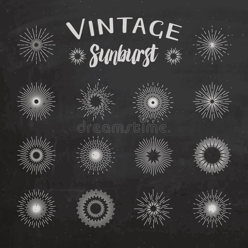 Sunburst do vintage no fundo do quadro ilustração royalty free