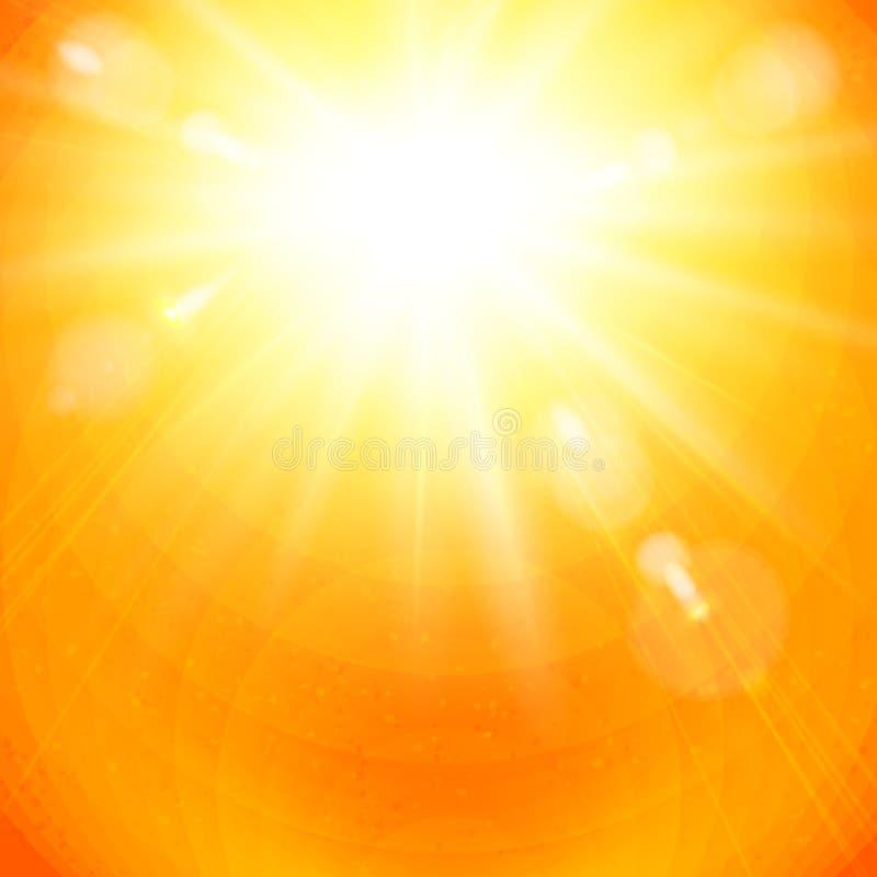 Sunburst dourado dramático em um céu alaranjado impetuoso ilustração do vetor