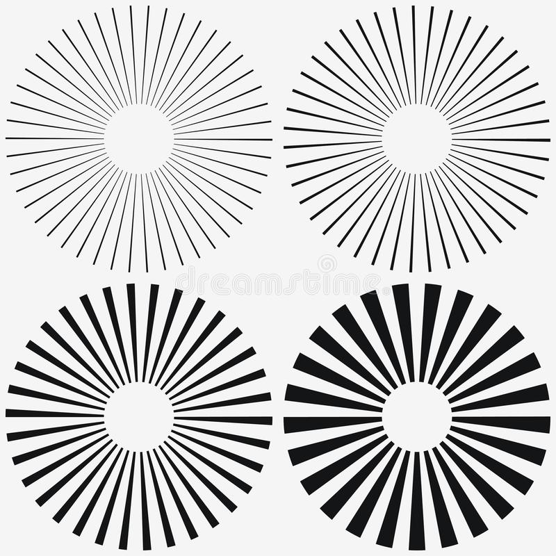 Sunburst element. Starburst, radial stripes. Set of ray, beam. Vector. vector illustration