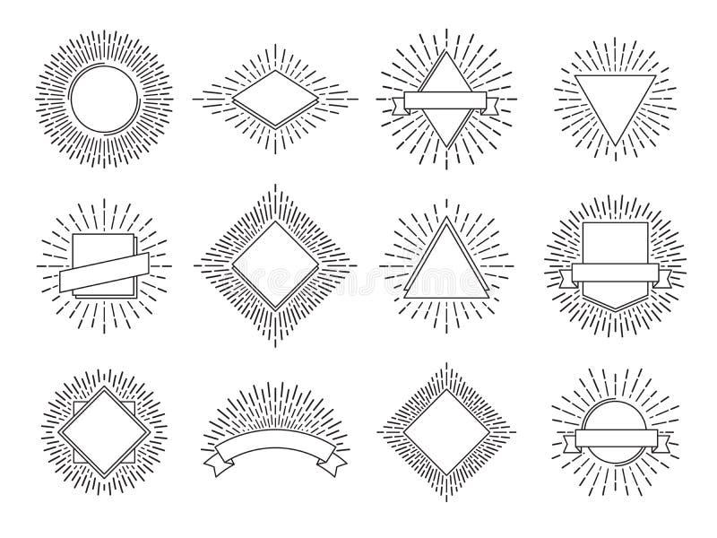 Sunburst etykietki Retro słońce promieni logowie Rocznika wschodu słońca heraldyczny emblemat z linii ramą Słońce wybuchu loga we ilustracja wektor