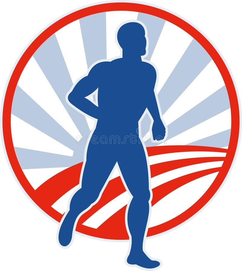 sunburst för löpare för joggermaratonväg vektor illustrationer