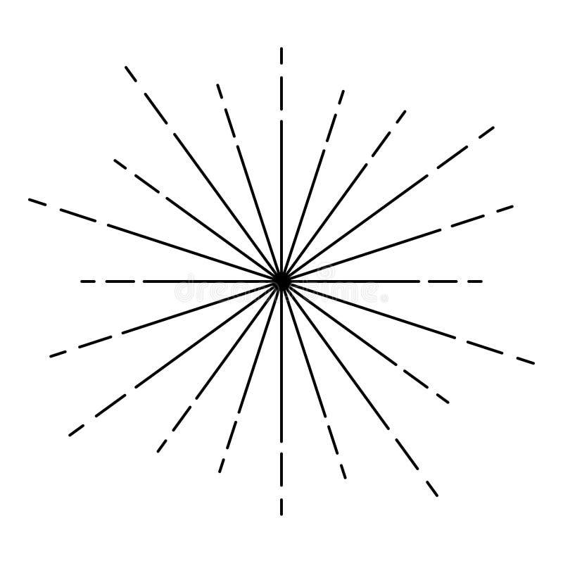 Sunburst Fireworks rays Radial ray Beam lines Sparkle Glaze Flare Starburst concentric radiance lines icon outline black color vector illustration