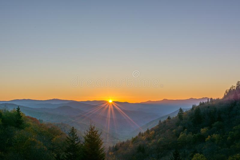 Sunburst, Great Smoky Mountains National Park. October sunrise at the Tennessee, North Carolina State Line in the Great Smoky Mountains National Park royalty free stock photography
