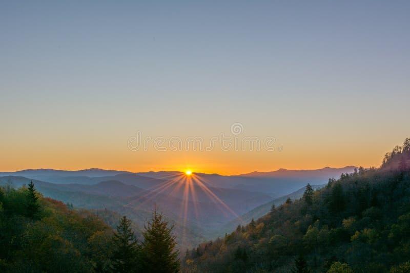 Sunburst Great Smoky Mountains nationalpark royaltyfri fotografi