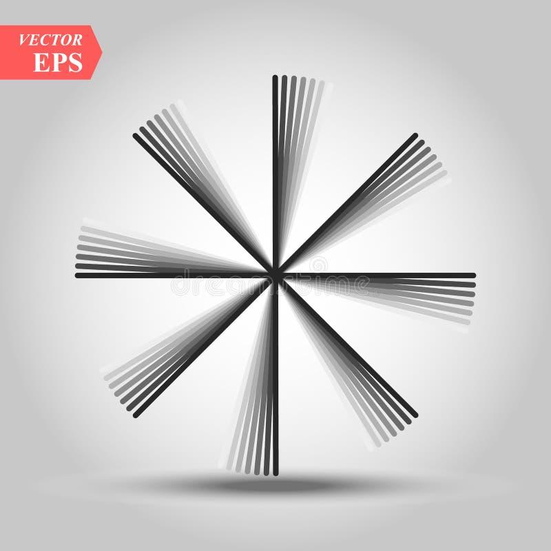 Лучи винтажных Sunburst фейерверков элемента дизайна взрыва Handdrawn черные иллюстрация штока