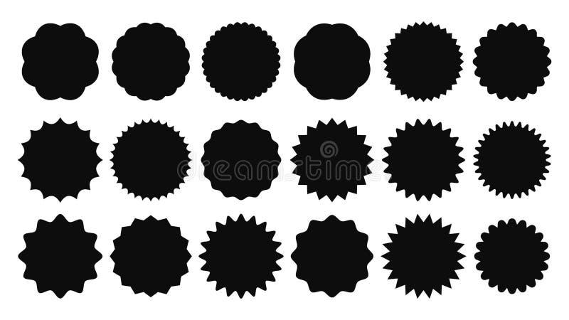 Sunburst klistermärke Tappningförsäljningsklistermärkear, den brustna strålpromoknappen och solbristningar prissätter isolerade v royaltyfri illustrationer
