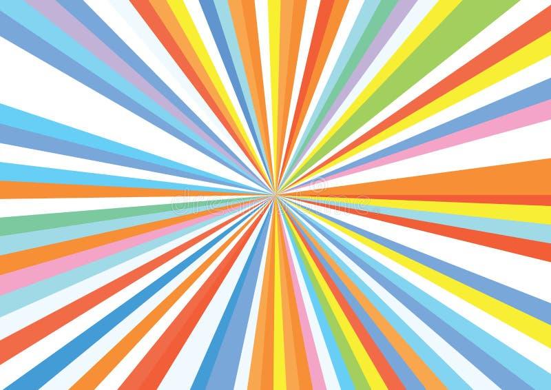 Sunburst lampasa Ray tęczy tła Kolorowy wzór ilustracji