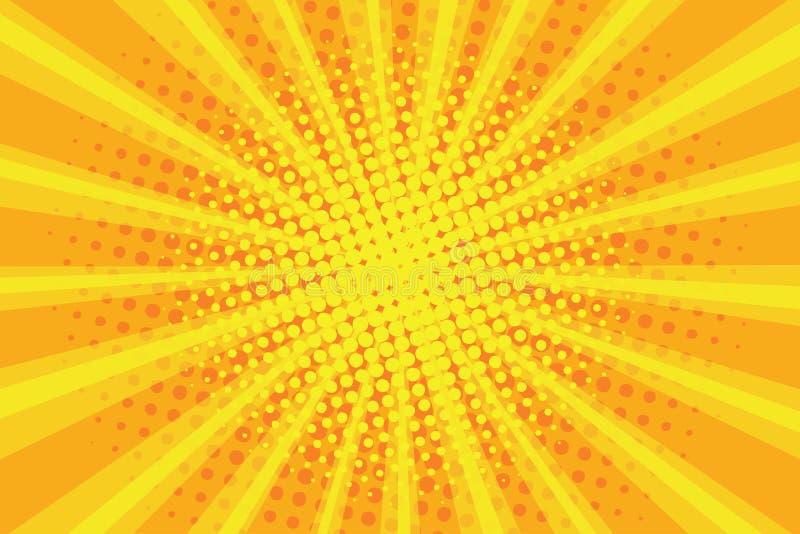 Sunburst modell för popkonst, komisk rastrerad bakgrund Retro explosionbakgrund Radiella strålar med prickar, gul solstråle vekto royaltyfri illustrationer