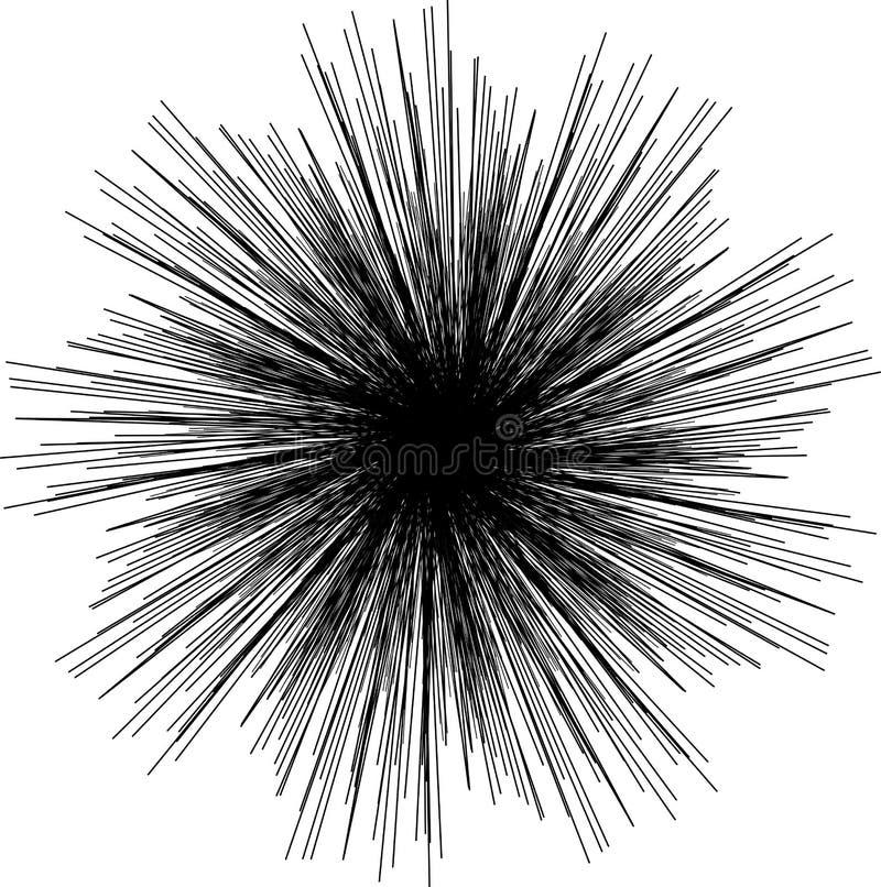 Sunburst, preto da forma do starburst no branco Elemento do projeto Irradiando linhas, listras ou fogos-de-artifício de fusão rad ilustração stock