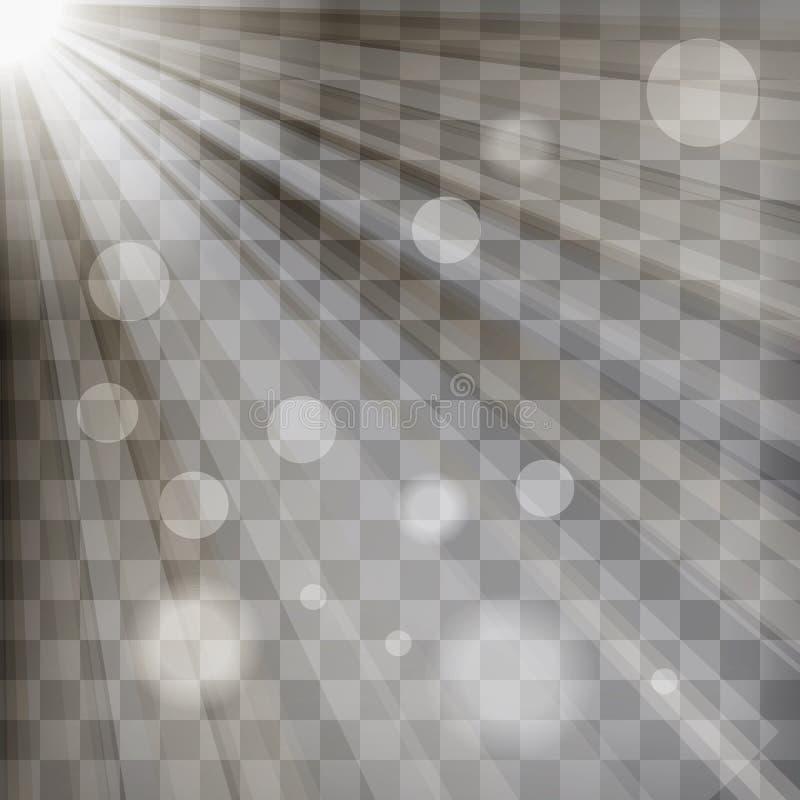 Sunburst rays with blur lights on chequered background stock illustration