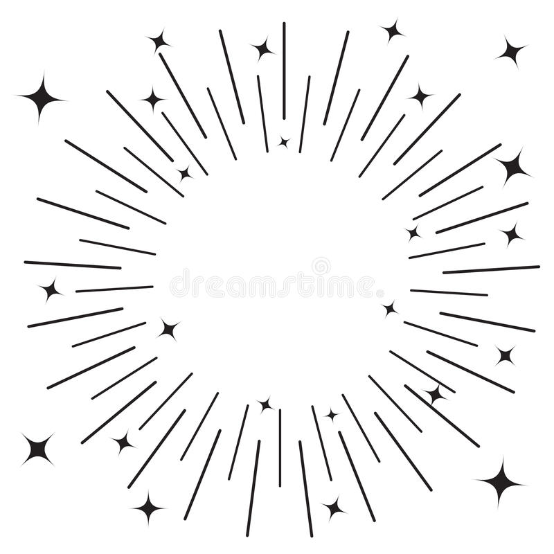 Sunburst round black line circle. Shining effect with stars. Abstract shape. Empty template. Retro bursting rays. Decoration eleme royalty free illustration