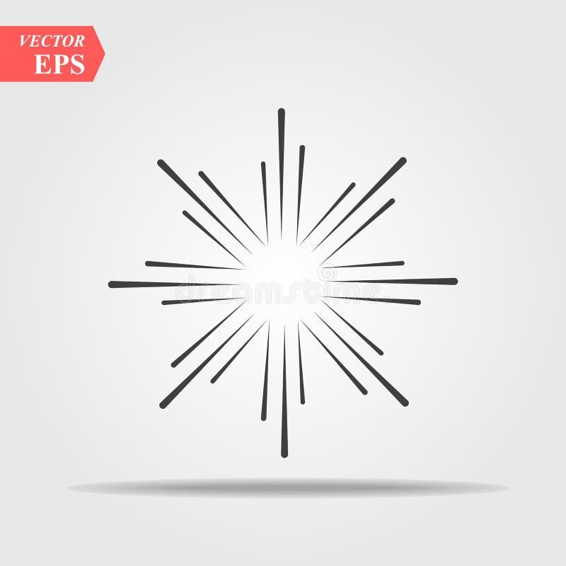 Sunburst słońce lub światło słoneczne kreskowej sztuki wektorowa ikona dla pękamy apps i stron internetowych Komiczny wybuchu sku ilustracji