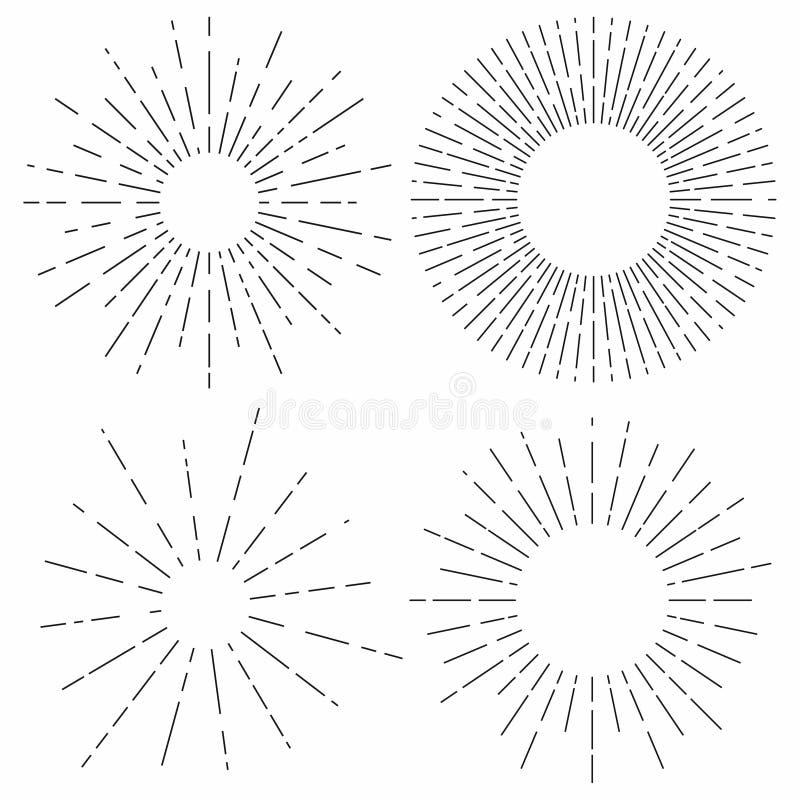Sunburst set Światło słoneczne promienie w rocznika stylu Lekcy promienie, promieniowa sunbeam dekoracja ilustracja wektor