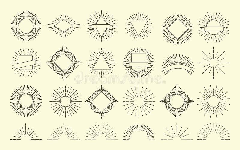 Sunburst set Rocznika wybuchu promieniowy emblemat Wschodu słońca wybuchu ramy Światło słoneczne modnisia wektorowa grafika odizo ilustracja wektor