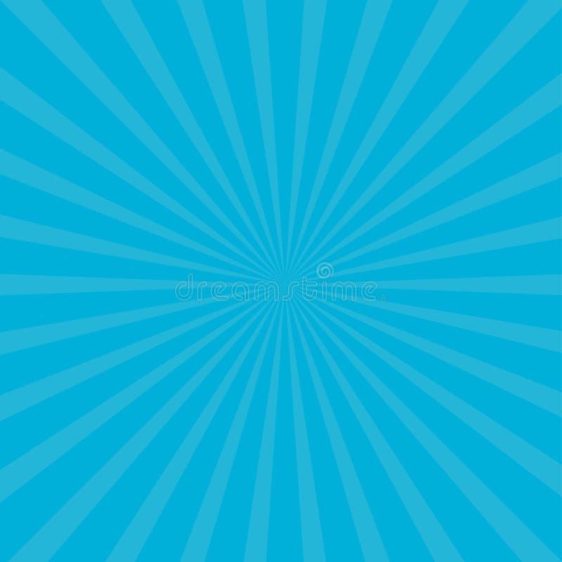 Sunburst starburst z promieniem światło Błękitny kolor Szablonu abstrakta tło Płaski projekt ilustracja wektor