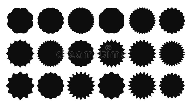 Sunburst sticker. Vintage sale stickers, burst rays promo button and sun bursts price isolated vector shapes icons. Sunburst sticker. Vintage sale stickers royalty free illustration