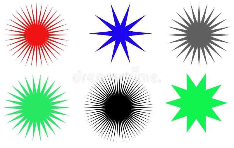 Sunburst vector badges set vector illustration