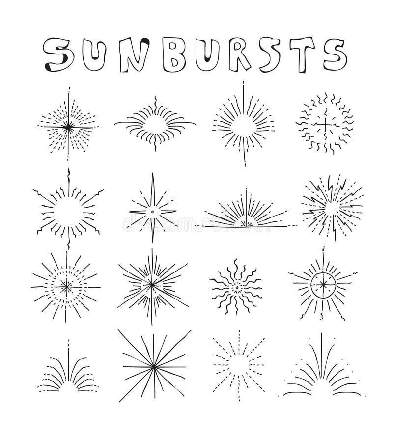 Sunbursts вручают вычерченному вектору установленную линию иллюстрацию искусства Editable s иллюстрация вектора