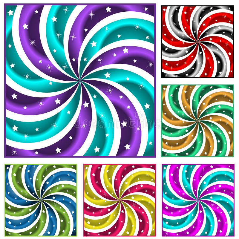 sunbursts покрашенного комплекта 6 иллюстрация штока