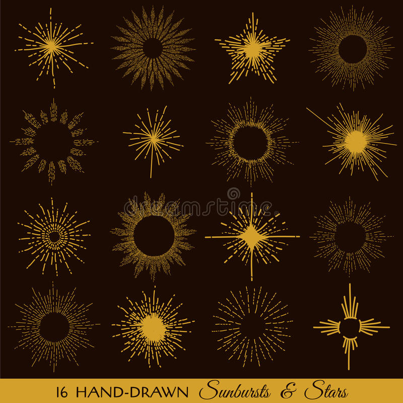 Download Sunbursts and Stars stock vector. Illustration of hipster - 42912675