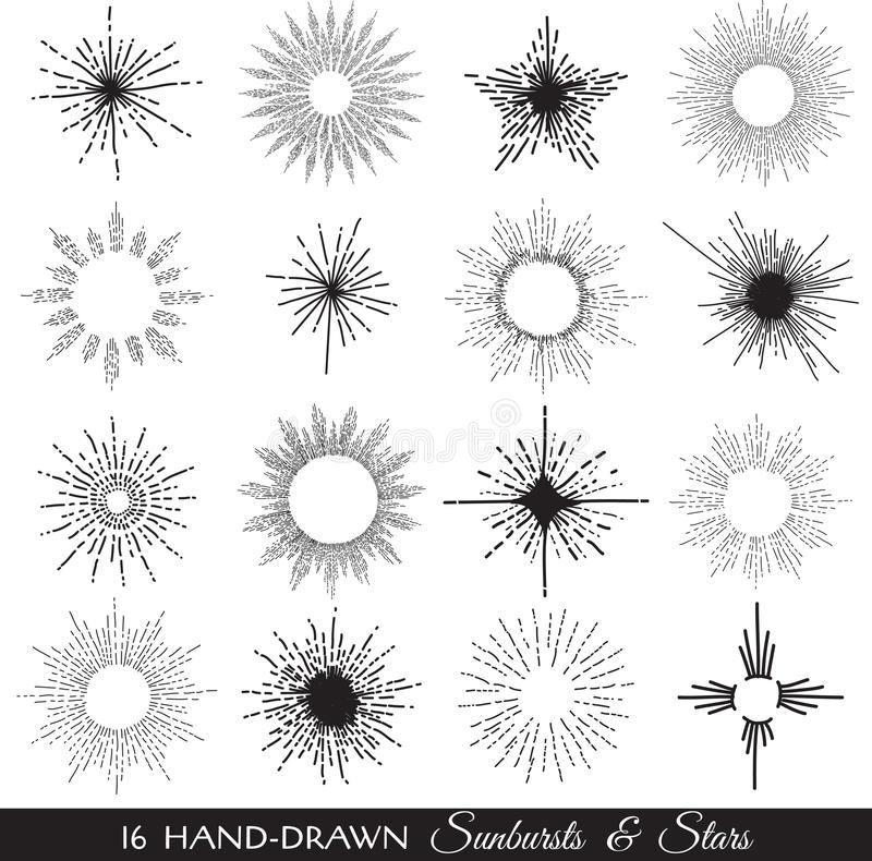 Sunbursts and Stars - hand-drawn royalty free illustration