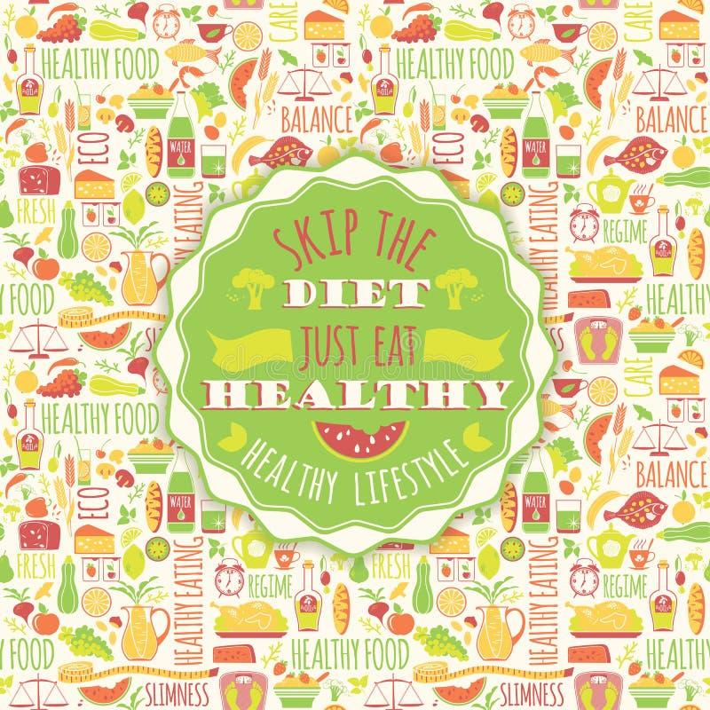 Sund ätabakgrund med citationstecken stock illustrationer
