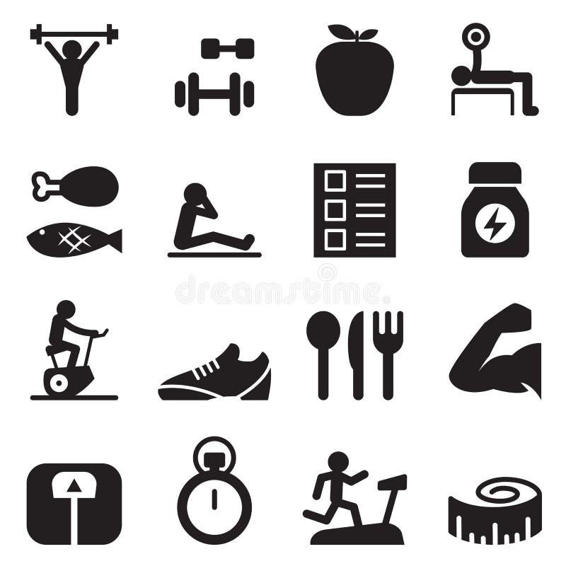 Sund & övningssymbolsuppsättning royaltyfri illustrationer
