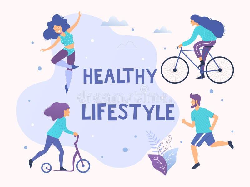 Sund aktiv livsstilvektorillustration Olika fysiska aktiviteter: spring aerobics, sparkcykel, cykel vektor illustrationer