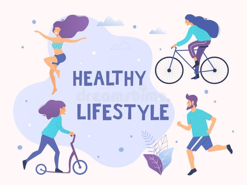Sund aktiv livsstilvektorillustration Olika fysiska aktiviteter: spring aerobics, sparkcykel, cykel stock illustrationer