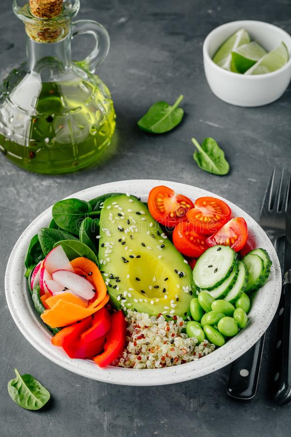 Sund bunke för grönsaklunchBuddha Avokado, quinoa, tomater, gurkor, rädisor, spenat, morötter, paprika och edamamebönor s arkivfoto