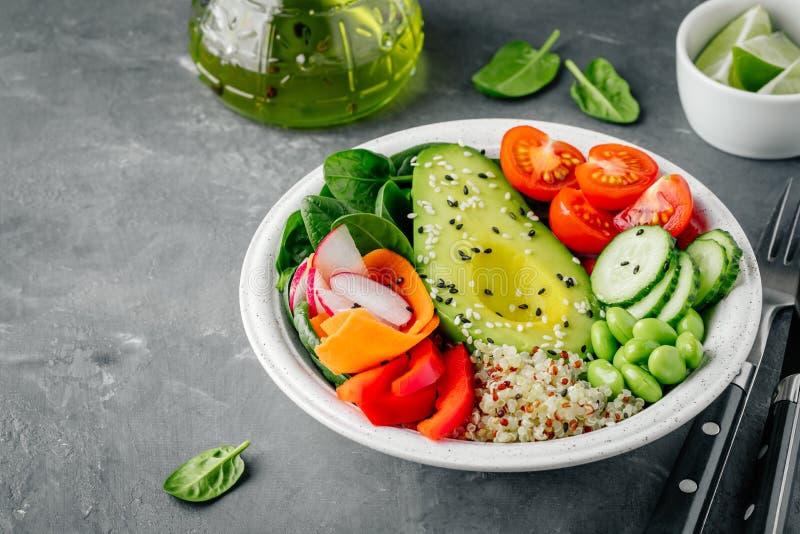 Sund bunke för grönsaklunchBuddha Avokado, quinoa, tomater, gurkor, rädisor, spenat, morötter, paprika och edamamebönor s fotografering för bildbyråer