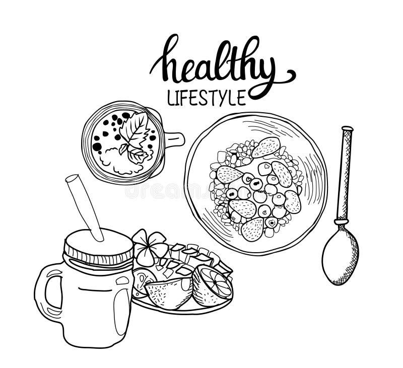Sund bunke för granola för frukostsädesslag, sked och ny smoothie royaltyfri illustrationer