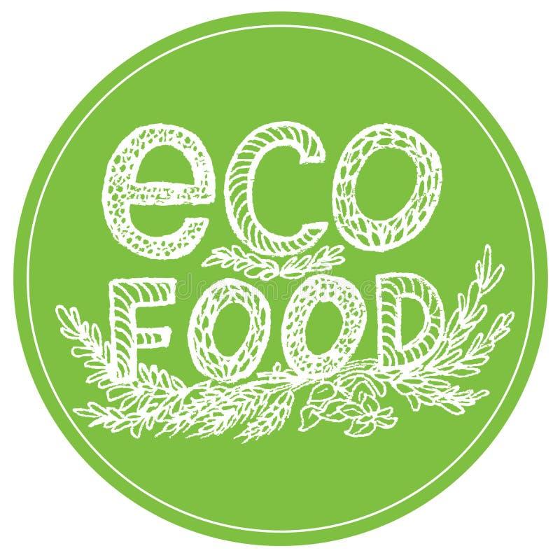Sund ecomatsymbol, etikett Organisk logo för vegetarisk restaurangmeny stock illustrationer