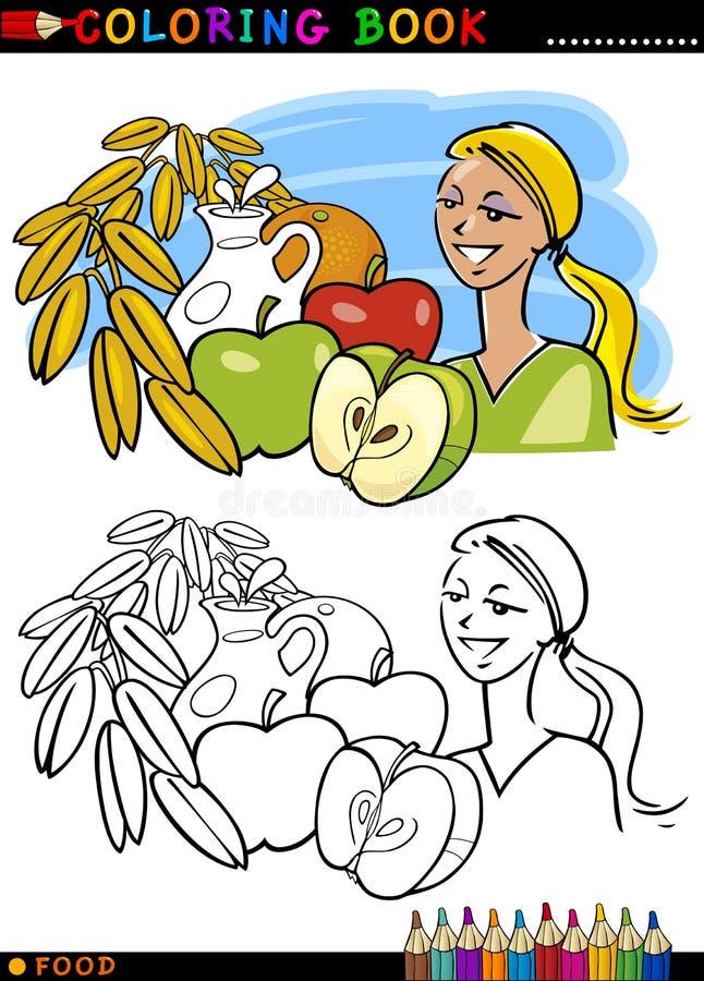 Sund frukost för färgläggning royaltyfri illustrationer