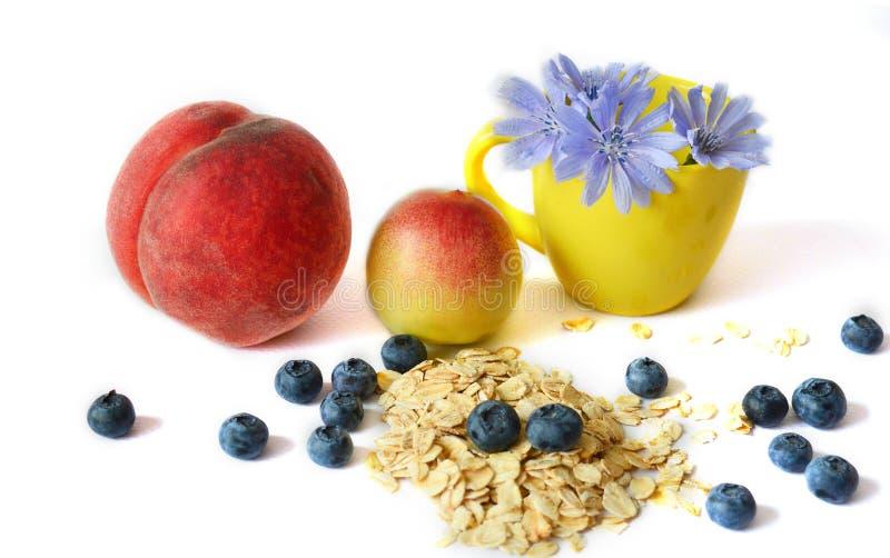 Sund frukost: havremjöl persika, blåbär, cikoria på en vit bakgrund Sund mat, bantar, riktig näring arkivbilder